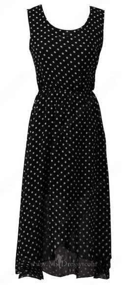 polka dot dress black chiffon sleeveless