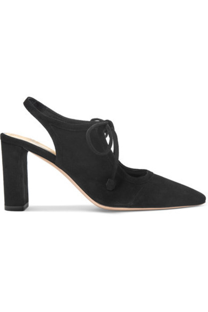 The Row - Camil Cutout Suede Pumps - Black