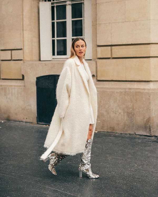 coat long coat knit boots snake print oversized coat midi dress