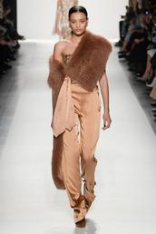 pants,fashion week 2017,ny fashion week 2017,runway,jonathan simkhai,fur,top,silk,nyfw 2017