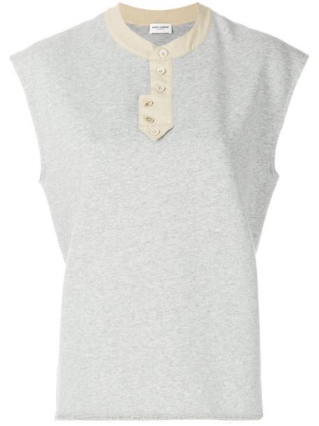 Saint Laurent sweatshirt sleeveless women cotton grey sweater