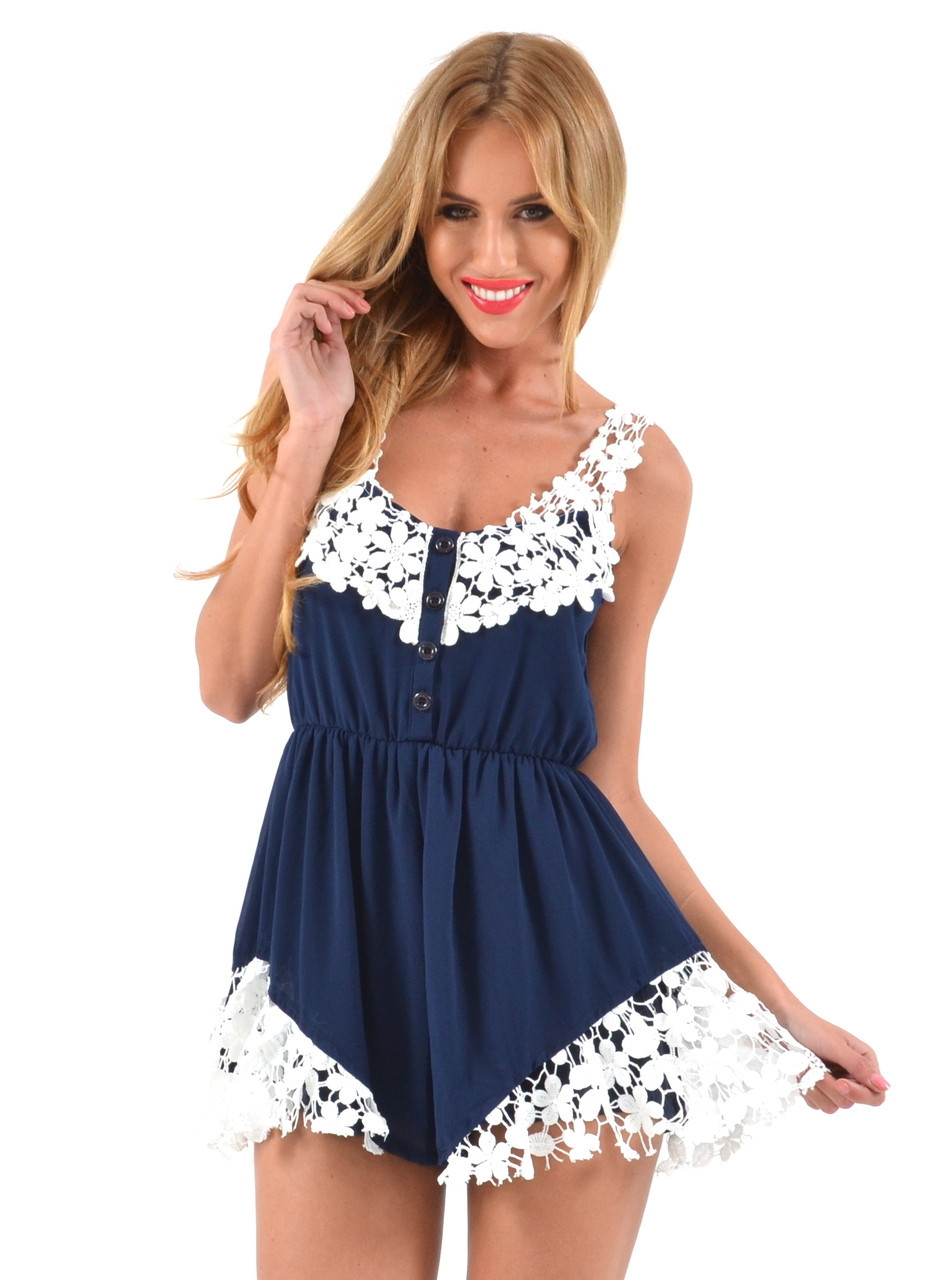 """Chic """"navy for laces"""" onepiece romper – glamzelle"""