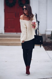 fashionably kay,blogger,sweater,skirt,shoes,bag,sunglasses,off the shoulder sweater,ankle boots,black bag,mini skirt,fall outfits