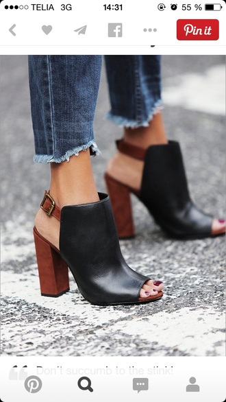 shoes boots cut out cut out ankle boots peep toe booties peep toe boots wooden heel slingback heels thick heel minimalist shoes