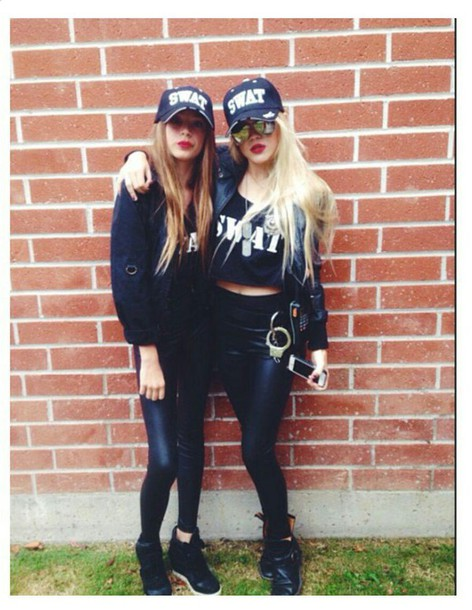 hat swat team costume handcuffs dog tag faith schroder iphone outfit halloween halloween costume black outfit blonde long hair shirt