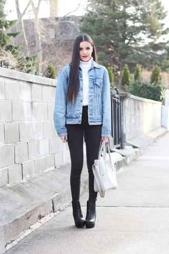 dress like jess blogger jacket sweater jeans bag t-shirt shoes make-up