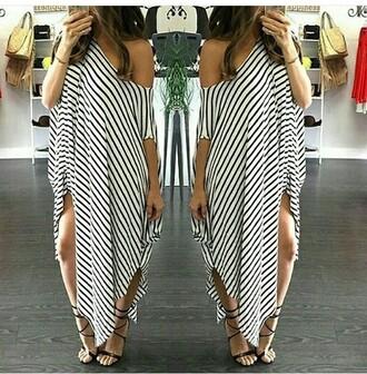 dress draped stripes white black dress black off the shoulder