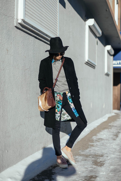 ordinary people blogger shirt sneakers grey sweater black coat floral superga