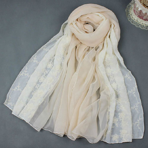 Shego shopping mall — [grzxy6601437]beige embroidery soft lace scarf wrap pretty gift