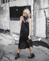 dress,black slip dress,slip dress,slip satin dress,satin dress,midi dress,bandana,black bandana,sunglasses,boots,buckles,buckle boots,black boots,ankle boots,bag,black bag