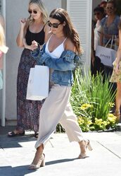 pants,jacket,denim jacket,sandals,sunglasses,lea michele,wide-leg pants,thick heel,lace up heels,white top,crop tops