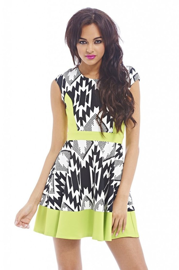 skater dress black and white print mini dress lime green dress sleeveless dress www.ustrendy.com