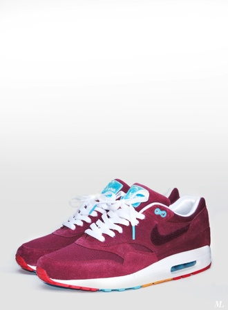 shoes nike red white and blue air max burgundy