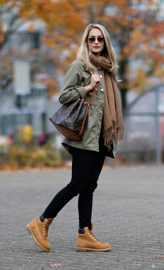shoes sunglasses army green jacket black jeans brown scarf blogger timberlands