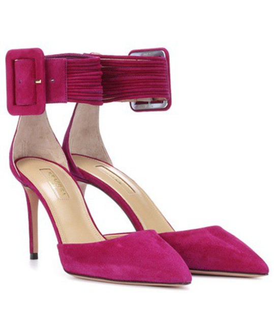 Aquazzura suede pumps pumps suede purple shoes