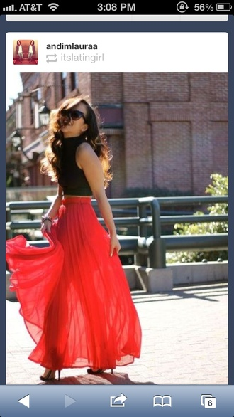 skirt maxi skirt pleated skirt orange skirt shirt
