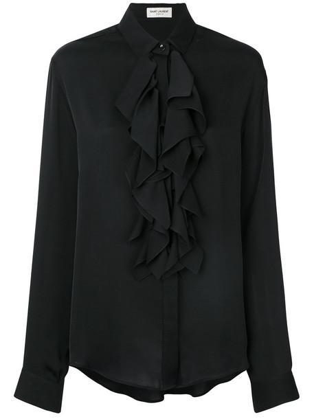 Saint Laurent shirt ruffle women black silk top