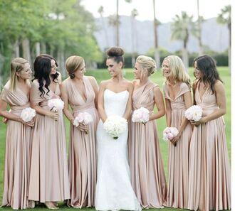 dress bridesmaid wedding pink dress nude dress long dress long bridesmaid dress