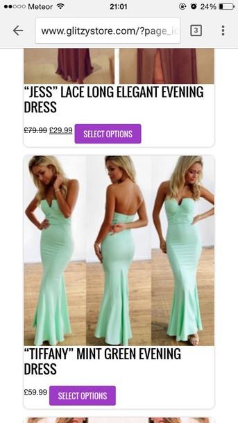 dress mint dress formal dress mermaid prom dress