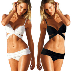 Online Shop Free shipping 2013 Tankini Fashion Sexy Women Bikini Bottoms Swimwear Female Bathing Split Push Up Bandage Black White Swimsuits|Aliexpress Mobile