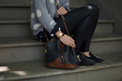 bag,polka dots,studs,leather,brown,black,grey,white,sweater,studded flats,flats,smoking slippers,shoes