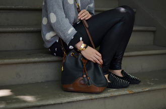 bag polka dots studs leather brown black grey white sweater studded flats flats smoking slippers shoes