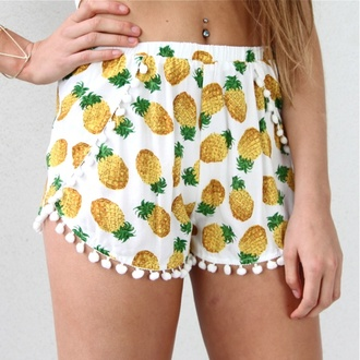 shorts pineapple tropical summer spring pompom shorts printed shorts