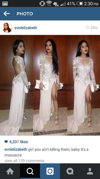 dress white dress prom dress slit dress open back prom dress long sleeve dress sheer top dress