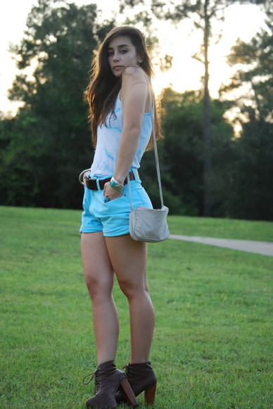 shoes shorts lita platform mint blue spring outfits