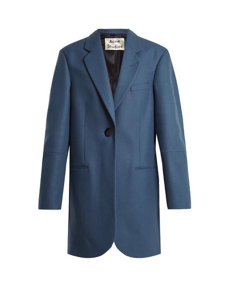 coat flannel coat wool flannel blue