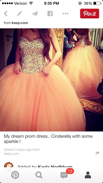 dress coral ball gown prom dress