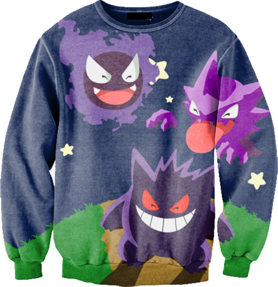 boy cute girl awesome sweater green purple pink yellow pokemon