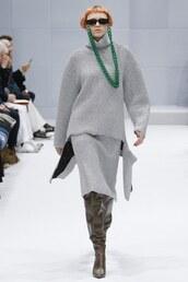 skirt,sweater,grey,boots,sunglasses,accessories,purse,runway,balenciaga,paris fashion week 2016,fashion week 2016