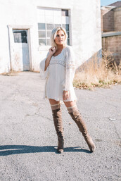 wild one forever - fashion & style by kristin,blogger,dress,shoes,socks,jewels,white dress,mini dress,thigh high boots,brown boots