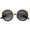 Nayana black and gold metal cut cat eye sunglasses at flyjane