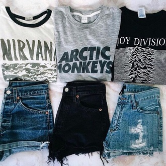 shirt band t-shirt t-shirt nirvana arctic monkeys joy division
