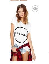 top,white shirt,uncool,t-shirt,white t-shirt,denim shorts,distressed denim shorts,flannel shirt,red flannel shirts,silver bracelet,slogan t-shirts,printed t-shirt