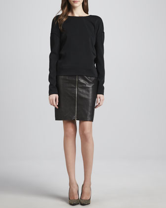 J Brand Ready to Wear Landon Deep-Surplice Top & Maxine Front-Zip Leather Skirt - Neiman Marcus