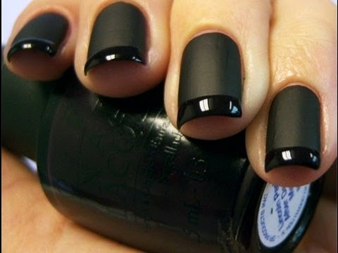 Matte Black French Manicure - YouTube