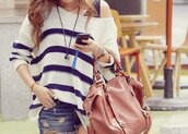 bag,stripes,shorts,summer,shirt,blue and white striped,blouse,sweater,clothes,girly,jumper,oversized sweater,blue,white,purse,leather,brown,handbag,striped sweater,where to get this bag?,where to get these shorts?,off the shoulder sweater,off the shoulder,striped shirt,bags and purses,big purse,cute,fashion,brown purse,large,black and white,top,striped knit sweater,tumblr outfit,style,black,tumblr,fall outfits,leather bag,beige bag,rayures,bleu,blanc,marin