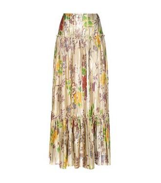 skirt pleated metallic silk gold