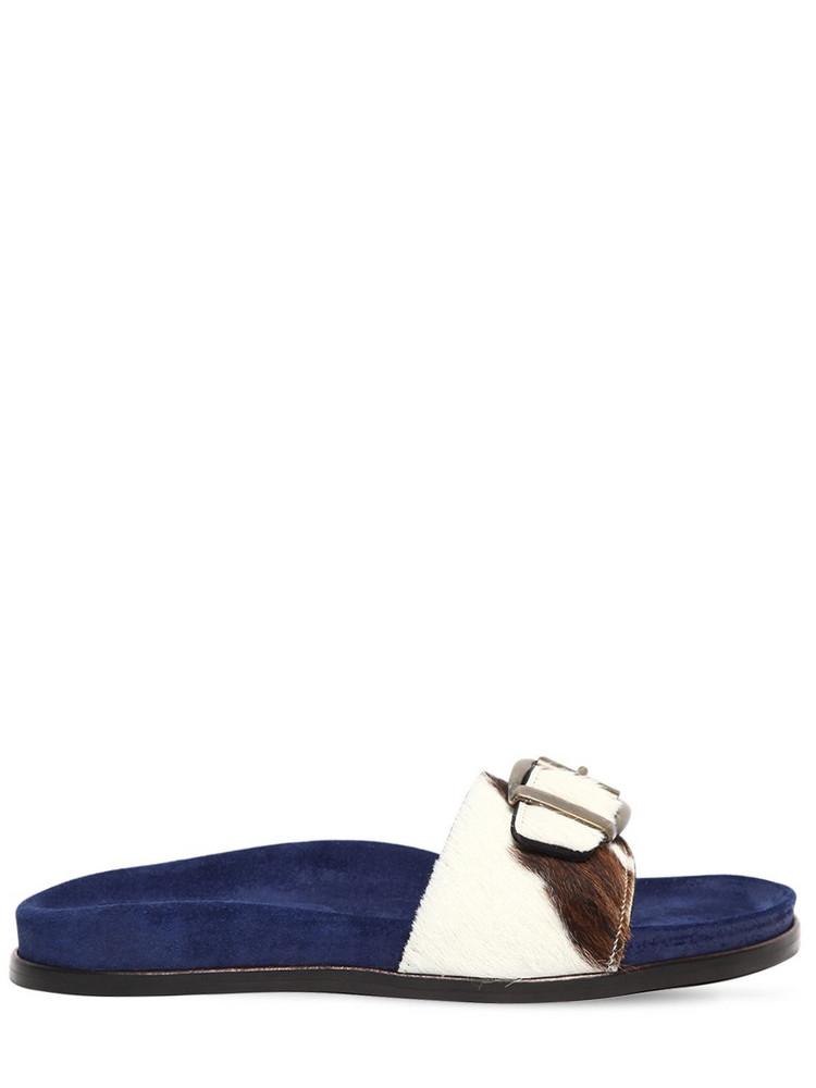 AVEC MODÉRATION 20mm Cow Print Ponyskin Slide Sandals