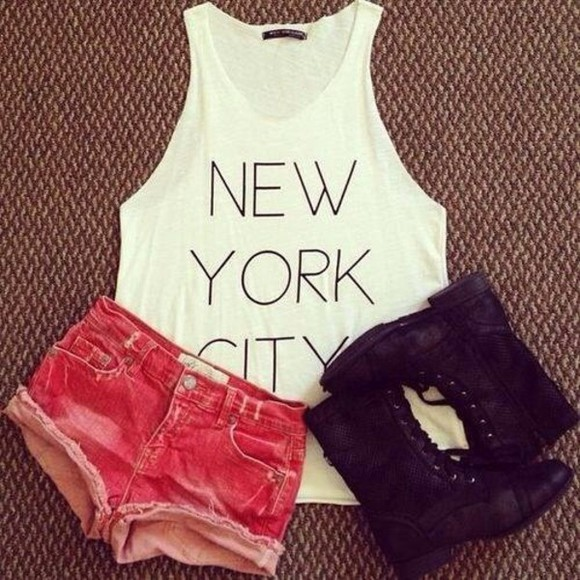 shorts denim shorts tank top denim shoes red short cute shorts distressed denim t-shirt