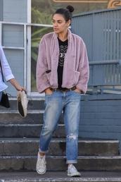 top,jacket,fur jacket,faux fur,mila kunis,celebrity,denim,jeans,casual,streetstyle