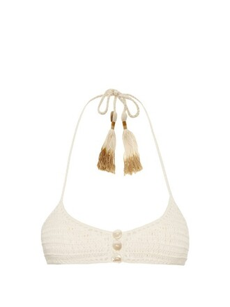 bikini bikini top triangle bikini triangle crochet cream swimwear