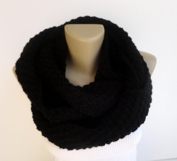 Gift guide 2014 black knit scarf ,infinity women men scarves knitted scarf winter scarf trend scarf for her for him gift ideas senoaccessory