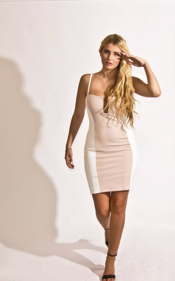 Dress: cream, short party dresses, celebrity style ...