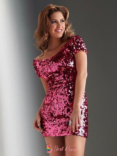 dress pink sequin dress