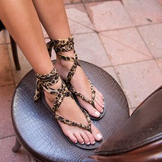 shoes brown leopard print sandals tan wrap up sandal bikiniluxe