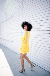 style me grasie,blogger,romper,dress,shoes,sandals,yellow dress,summer dress,topshop